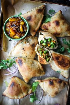 Sweet Potato Samosas with Peach Red Onion Chutney - Powered by @ultimaterecipe