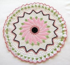 Pink Beaded Crocheted Doily - This doily is a special one!