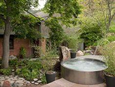La Maison Boheme: Stock Tank Pool Hot Tub Garden, Hot Tub Backyard, Diy Garden, Stock Pools, Stock Tank Pool, Piscine Simple, Mini Piscina, Simple Pool, Outdoor Spa