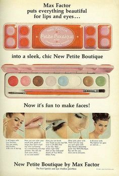max factor make-up ad ~ mademoiselle magazine, november 1965
