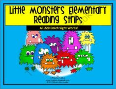 This little monster themed sight word strips are a great way to get your kiddos reading and enjoying it too! These Dolch sight words are printed in vertical form on strips that are stored on keyrings. The 5 sets of Dolch words range from Preprimer to Grade 3 and are grouped for easy reference. These cards can be printed on cardstock, laminated and mounted on keyrings either in separate sets or together. Your cards can be easily stored hanging in your literacy center