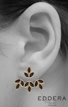 Eddera's Black Onyx Romy Earrings Bridal Jewelry Earjacket Ear Jacket Fashion
