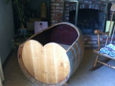 CRAZY CUTE BED! baby cradle made from a wine barrel. wine barrel by DreamBedzzz
