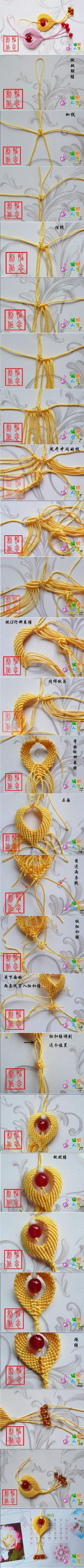 A faire pour changer des bracelets - DIY Chinese Knot Heart Ornament DIY Chinese Knot Heart Ornament