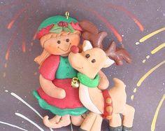 Polymer Clay Milestone Christmas Ornament Girl Elf Helper Rudolph Reindeer Bellsl