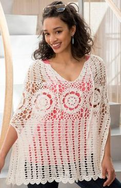 Summer Fun Poncho Crochet Pattern, free crochet pattern. Crochet this beautiful poncho for double-duty! It works equally well as an accessory over regular clothes or as a beach cover-up. RED HEART® Miami: 7 (9) balls #00116 Nature Crochet Hook: 3.75mm [US F-5] Stitch marker, yarn needle Size: Directions are for size Small/Medium; changes for sizes …