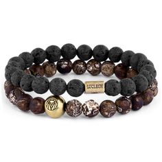 This selection from the Danish brand Lucleon was crafted for their Miro collection. Features matte black and earthy brown beads. Two shiny, gold-toned beads displaying Lucleon's name and logo are included. Wear with casual or formal. Bracelets Diy, Diamond Bracelets, Bangles, Engraved Bracelet, Bracelet Cuir, Bijoux Diy, Apple Watch Bands, How To Make Beads, Diy Jewelry Making