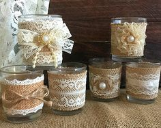 6 rustic naturlap burlap and lace covered votive tea candles, country chic wedding decoration, bridal shower decor or home decor