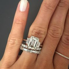 Picking a wedding band for this gorgeous Emerald cut 3 stone engagement Ring.would you pair it with the Round or Emerald cut style band? Emerald Cut Rings, Emerald Cut Diamonds, Diamond Cuts, Diamond Bands, Emerald Cut Engagement, Engagement Rings, Emerald Cut Wedding Band, Dress Rings, Diamond Are A Girls Best Friend