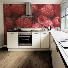 Raspberry wallpaper in kitchen by Fototapeta4u.pl