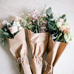 Brown paper packages tied up with string... #bellamummablooms #bouquet #flowers