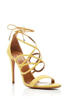 Gigi Yellow Suede Heeled Sandals by AQUAZZURA Now Available on Moda Operandi