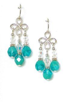 03-01-610 Turquoise Crystal Chandelier Earrings