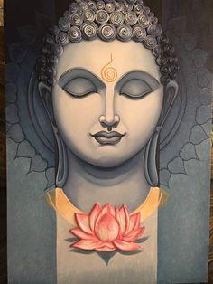 Symbol of peace - Lord Buddha Painting by Garima Agarwal Budha Painting, Mural Painting, Mural Art, Painting Canvas, Yoga Painting, Buddha Artwork, Buddha Drawing, Modern Indian Art, Indian Art Paintings