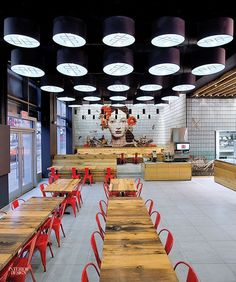 The concept of the restaurant comes from combining the nostalgic aspects of Asian heritage within the pop culture urban context. Spanning the interior of the restaurant is the series of feature walls, which surround the seating area. Architecture Restaurant, Restaurant Interior Design, Cafe Interior, Interior Design Magazine, Cafeteria Design, New York Restaurants, Asian Restaurants, Coffee Shop Design, Cafe Design
