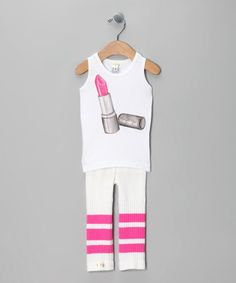 Take a look at this Pink Lipstick Tubular Leggings & Tank - Infant, Toddler & Girls  by Tiny Turnip on #zulily today!