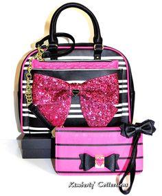 Betsey Johnson Pink Sequin Bow Satchel Bag, Pouch & Wristlet Wallet 3pc Set NWT | eBay