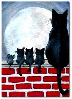 Black cat painting, black cat art, black cats, i love cats, cute Art Et Illustration, Illustrations, Halloween Illustration, Funny Kid Drawings, Arte Sketchbook, Cat Art Print, Cat Quilt, Cats And Kittens, Cats Bus