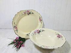 Serving Bowl & Platter Set Early W. S. George Ivory Color