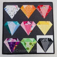 Do you like jewelry & quilting? This is for YOU! Rainbow Gemstone Mini quilt made by Cassandra Madge