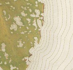 Remains IV, detail 2002 hosta leaf (eaten by slug), silk organza, thread  by Kyoung Ae Cho