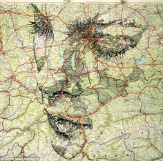 Patchwork: Mr Fairburn started on the map portraits in August last year following some previous work using wood to create the pattern of skin