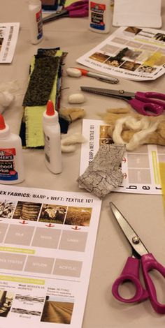 Warp x Weft:Textile 101 on June 12, 2014. Just getting started with our swatch sheets, fibers first.