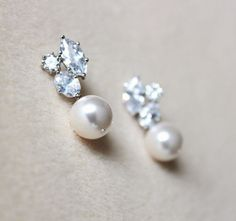 Pearl Bridal Earrings Pearl Wedding Jewelry White Ivory Cream