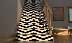 Chevron Your Stairs - Removable wallpaper - Vinyl wall sticker decal via Etsy