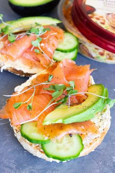 """ · This perfect toasted smoked salmon breakfast bagel is layered with cream cheese, caramelized onion hummus, smoked salmon, avocado and cucumber. This layered delectable combination is hard to beat! Smoked Salmon Breakfast, Smoked Salmon Cream Cheese, Smoked Salmon Bagel, Smoked Salmon Recipes, Breakfast Bagel, Bagel Bagel, Bagel Sandwich, Lox Recipe, Bagel Recipe"