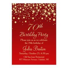 Download 70th birthday invitation designs free printable golden confetti on red 70th birthday invitation filmwisefo