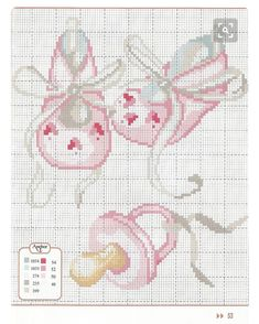 (JPEG Image, 736 × 1010 pixels) Pink Baby Booties and Pacifier Cross Stitch Pattern Baby Cross Stitch Patterns, Cross Stitch For Kids, Cross Stitch Baby, Cross Stitch Charts, Cross Stitch Designs, Baby Patterns, Cross Stitching, Cross Stitch Embroidery, Embroidery Patterns