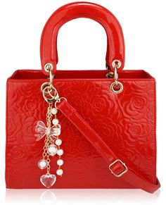 Red Floral Embossed Patent Tote - Attached to this handbag are charms so you will never be out of luck. This stunning red floral embossed patent tote handbag will make a massive mark where ever you take it. Wholesale Designer Handbags, Flower Bag, Red Bags, Flower Fashion, Online Shopping Stores, Red Flowers, Tote Handbags, Tote Bag, Stylish