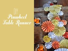 DIY Pinwheel Table Runner (Could also be used as a wall decoration at the reception) Wedding Table, Diy Wedding, Green Wedding, Wedding Shoes, Wedding Ideas, Wedding Prep, Wedding Beauty, Floral Wedding, Wedding Decor