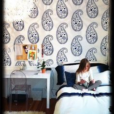 Wish this Vintage Paisley Stenciled room was your room as a little girl!  CrushworthyMoms used the Vintage Paisley Stencil which can be found here... http://www.cuttingedgestencils.com/paisley-stencil-vintage.html