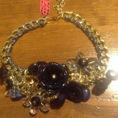 Betsey Johnson Inspired Bib Necklace Navy blue an clear flowers new with tags Betsey Johnson Jewelry Necklaces