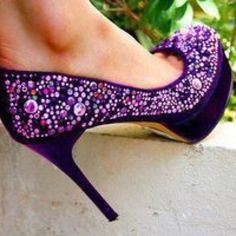 Love the purple jewels -  Shoes to go with that beautiful purple dress!