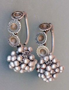 munan15:  Earrings ~ 'boda' ~ silver with traces of gilding | 19/20th century. Rajasthan