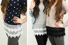 These lace shirt extenders are the perfect staple for every wardrobe. They add a bit of flair and cuteness to all your tops. Available in black or white for 62% off at pickyourplum.com