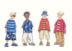 Childrenswear: pre-teens. Four boy figures in a variety of casual beachwear. This copyrighted image is the work of British Fashion Illustrator Hilary Kidd