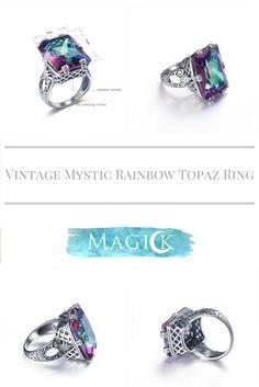 Vintage Mystic Topaz Square Cut Ring