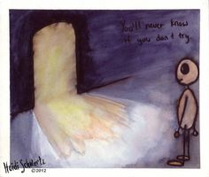 ORIGINAL ART. You'll Never Know if You Don't Try: Small painting of a figure looking at a mysterious door.