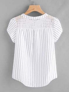 Material: Polyester Color: White Pattern Type: Striped Collar: Band Collar Style: Casual, Work Type: Equipment Decoration: Button Sleeve Length: Short Sleeve Fabric: Fabric has no stretch Season: Summer Shoulder(Cm): Bust(Cm): Length(Cm): Casual Dresses, Fashion Dresses, Women's Fashion, Sewing Blouses, Kurta Neck Design, Petal Sleeve, Outfit Trends, Blouse Dress, Blouse Designs