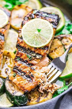 This Grilled Honey Lime Salmon is a light and tasty dish that is just perfect for summer. The honey and lime butter sauce is sweet, tangy and so delicious! Grilled Salmon Recipes, Baked Salmon, Fish Recipes, Seafood Recipes, Dinner Recipes, Cooking Recipes, Tilapia Recipes, Grilled Fish, Sauce For Grilled Salmon