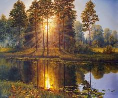ARTFINDER: Sun Rays by Oleg Riabchuk - Realistic morning landscape with forest and river.  The painting is ready to hang, and comes with a Certificate of Authenticity, signed by the artist.  I a...