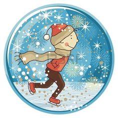 Зимний снежный шар с катанием на коньках ребенка и сезонные элементы photo