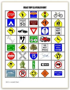 Print out these free road trip games to keep the kids busy - a scavenger hunt and license plate game