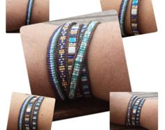 Leather cuff wrap bracelet with 7 rows of czech glass and