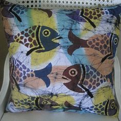 Beachy Batik Fish Pillow Handmade Coastal Decor  $55.00