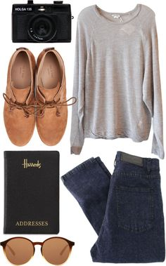 Oversized Gray Sweater + Dark Blue Skinny Jeans + Oxfords + Sunglasses